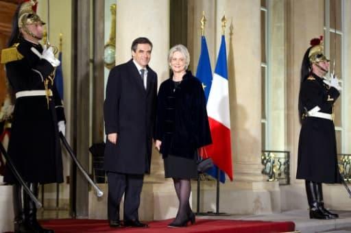 L'ancien Premier ministre François Fillon et son épouse Penelope à l'Elysée lme 26 janvier 2012