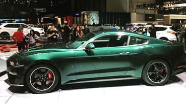 La série limitée 'Bullitt' de la Ford Mustang, exposée au salon automobile de Genève (Suisse).