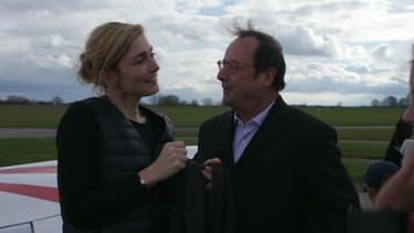 François Hollande et Julie Gayet après une séance de voltige.
