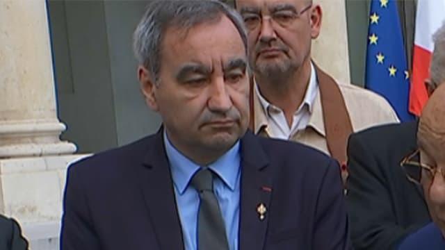 Dalil Boubakeur, entouré des représentants des cultes, reçus à l'Elysée mercredi matin.