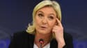 Marine Le Pen lors d'une conférence de presse le 22 janvier 2015 au Parlement européen, à Bruxelles.