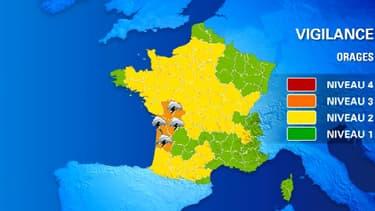 Cinq départements ont été placés dimanche en vigilance orange.