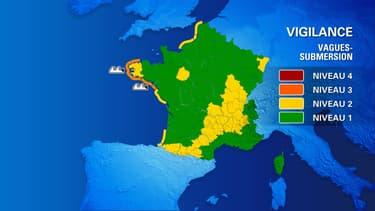 """Carte des zones de vigilance orange """"vagues-submersion"""", le 17 octobre"""