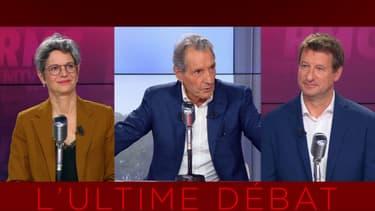 Sandrine Rousseau (gauche) et Yannick Jadot (droite) le vendredi 24 septembre sur RMC / BFMTV