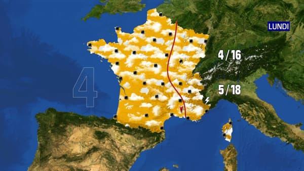 Les prévisions météorologiques du lundi 19 avril 2021.