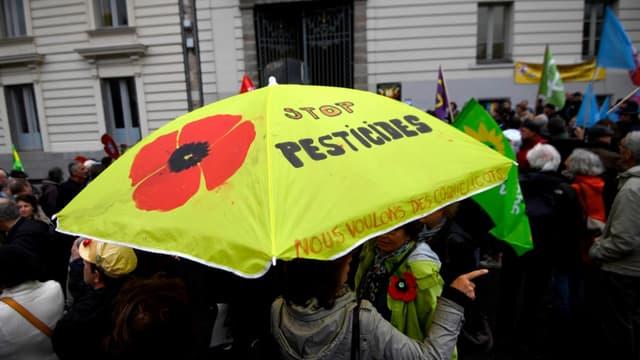 Manifestation de soutien à Daniel Cueff  au tribunal administratif de Rennes, le 14 octobre 2019, maire de Langouet, qui a pris un arrêté anti-pesticides contesté