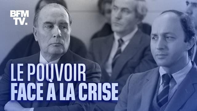 Le président François Mitterrand au côté de son Premier ministre, Laurent Fabius, le 19 décembre 1984