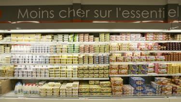 Rayon frais du Leclerc Express, le premier magasin discount de la marque E.Leclerc (image d'illustration).