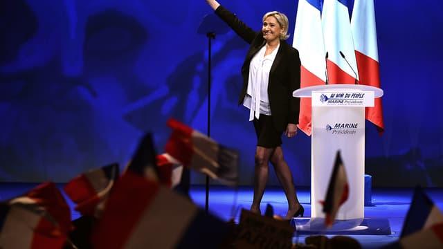 Marine Le Pen lors d'un meeting à Nantes, dimanche 26 février.