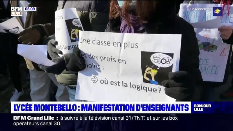 Lille: manifestation des enseignants du lycée Montebello contre les suppressions de postes prévues pour la rentrée