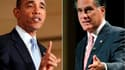 A une semaine de la présidentielle américaine, Barack Obama (47%) conserve une avance marginale sur Mitt Romney (46%), indique un sondage quotidien Reuters/Ipsos. /Photos d'archives/REUTERS