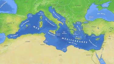 Carte d'illustration du bassin méditerranéen