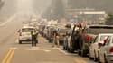 Des files de voitures bloquées dans les bouchons ce lundi, alors que les habitants tentent d'évacuer la rive sud du lac Tahoe en Californie.