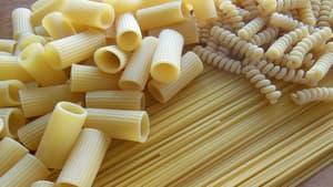 Différents types de pâtes.