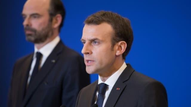 Le président Emmanuel Macron et le Premier ministre Edouard Philippe, le 23 mars 2018 à Paris