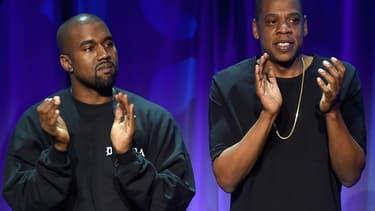 Les rappeurs Kanye West et Jay Z, lors du lancement de Tidal, en mars 2015.