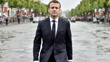 Emmanuel Macron le 14 mai 2017 sur les Champs-Élysées.