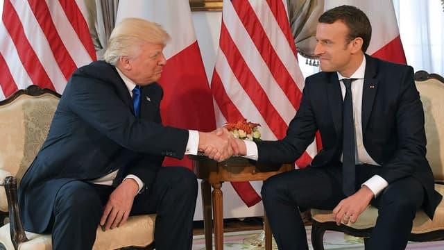 Emmanuel Macron et Donald Trump le 25 mai 2017 à Bruxelles.