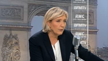 Marine Le Pen était l'invitée de Jean-Jacques Bourdin sur RMC et BFMTV.