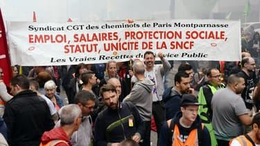 Manifestation de cheminots affiliés à la CGT le 6 juin à Paris.