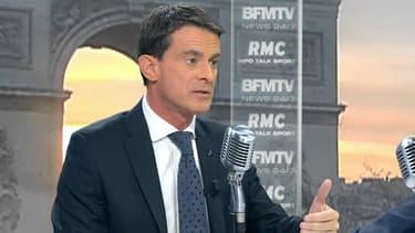 Manuel Valls invité de Jean-Jacques Bourdin sur BFMTV et RMC, le 9 décembre 2016.