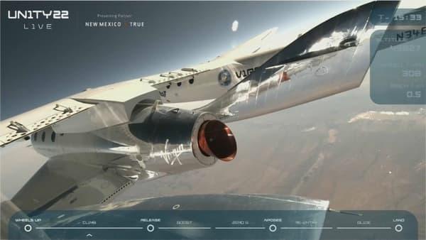 L'avion-porteur de Virgin Galactic doit prendre environ quatorze kilomètres d'altitude pour pouvoir procéder au largage de la navette où se trouve Richard Branson.