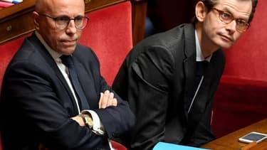 Les députés LR Eric Ciotti et Guillaume Larrivé, à l'Assemblée nationale le 7 octobre 2019