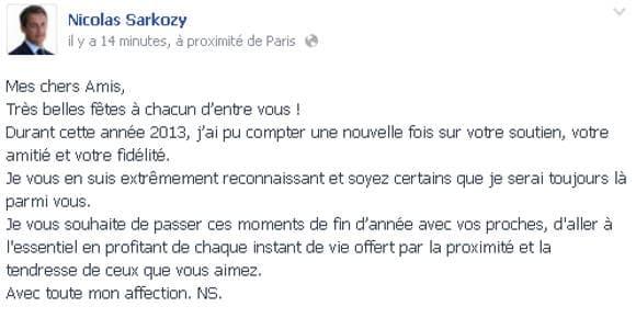Le message de Nicolas Sarkozy publié mardi midi.