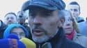 Serge Charney, interrogé par BFMTV à sa descente de la grue sur laquelle il a passé 4 jours.