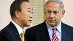 A quelques heures d'une visite à Washington, le Premier ministre israélien Benjamin Netanyahu (ici avec le secrétaire général de l'Onu Ban Ki-moon en visite dans la région) a averti que les pressions internationales n'empêcheraient pas l'Etat juif de pour