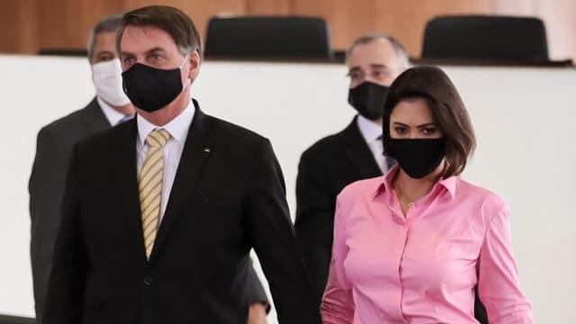 Jair Bolsonaro et son épouse Michelle Bolsonaro le 15 mai dernier à Brasilia.