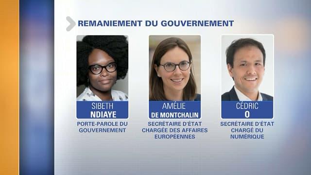 Sibeth Ndiaye, Amélie de Montchalin et Cédric O entrent au gouvernement