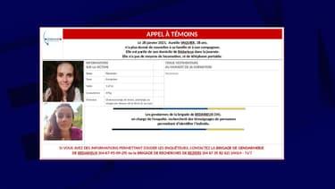 """L'appel à témoin lancé pour """"disparition inquiétante"""" par la gendarmerie de l'Hérault pour Aurélie Vaquier."""