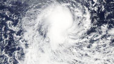 La tempête tropicale Berguitta, à l'approche de l'île Maurice et de la Réunion, le 17 janvier 2018.