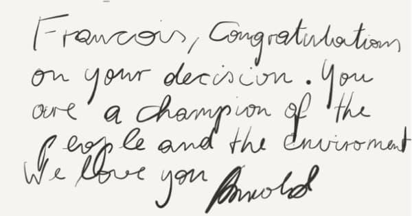 Le message d'Arnold Schwarzenegger à François Hollande.