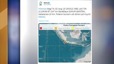 Le séisme s'est produit vendredi 2 août au sud-ouest de l'île de Java.