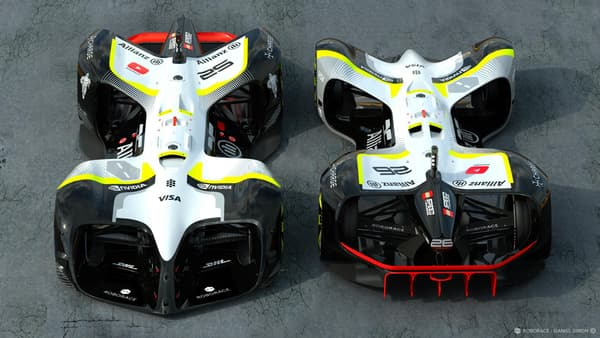 Les deux nouvelles versions de prototypes de Roborace dévoilées à Barcelone le 27 février.
