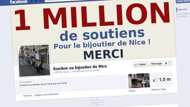 """La page de soutien au bijoutier de Nice totalisait un million six cent mille """"likes"""" lundi après-midi."""