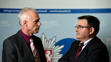 Roland Wolff, le chef des enquêteurs allemands et son homologue français, Jean-Pierre Michel.