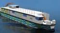 L'offre de logistique fluviale Fludis repose sur l'utilisation d'un bateau à motorisation hybride et de véhicules utilitaires électriques transportant des palettes.