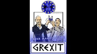 """L'étiquette de la liqueur créée par l'entrepreneur allemand, qu'il a baptisée """"Grexit""""."""