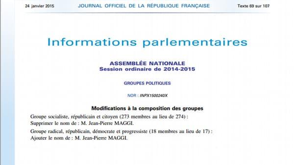 Le Journal officiel du 24 janvier 2015, annonçant le départ de Jean-Pierre Maggi du groupe socialiste, républicain et citoyen à l'Assemblée nationale.