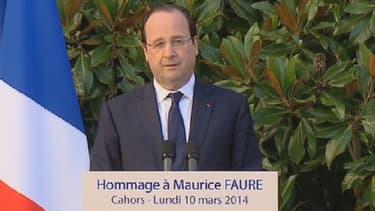 François Hollande a participé lundi 10 mars 2014 à Cahors aux obsèques de Maurice Faure.