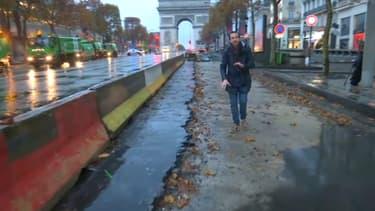 Les Champs-Elysées filmés sur BFMTV le dimanche 25 novembre au matin, au lendemain des violences en marge de la manifestation des gilets jaunes.