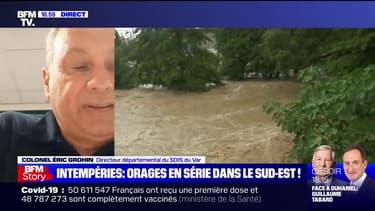 """Intempéries dans le Var: il n'y a """"pas de victime pour l'instant"""", selon le colonel Éric Grohin"""