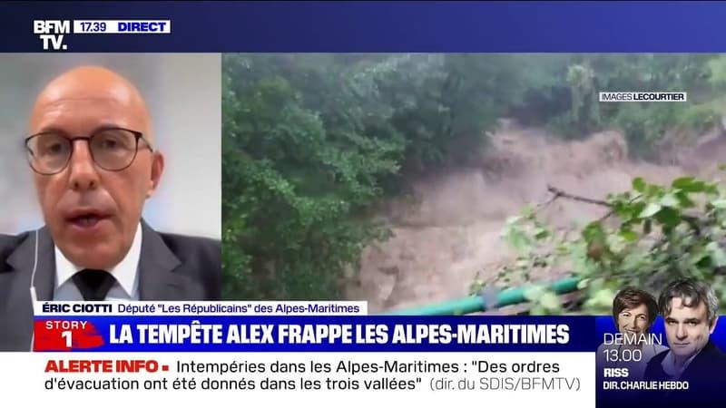 """Alpes-Maritimes: des """"dégâts matériels extrêmement importants"""" à Saint-Martin-Vésubie, selon Eric Ciotti"""