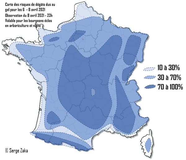 La carte de France des risques de gel.