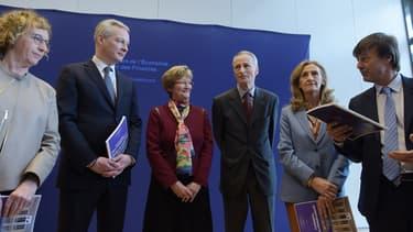 L'ancienne dirigeante de la CFDT Nicole Notat (au centre à gauche), co-auteur de ce texte avec le président de Michelin, Jean-Dominique Senard (au centre à droite).