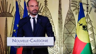 Le Premier ministre Edouard Philippe donne un discours le 5 novembre 2018 à Nouméa, après le référendum qui a rejeté l'indépendance