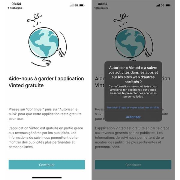 Capture d'écran du message d'avertissement de Vinted sous iOS 14.5